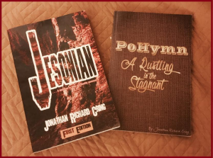 """Jesonian"" and ""PoHymn: A Rustling in the Stagnant, two of Jonathan Richard Cring's books which will be intricate to the morning presentation"